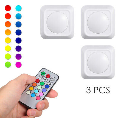 RGB Wireless Rechargeable LED Light 3 Pack Puck Lights with Remote