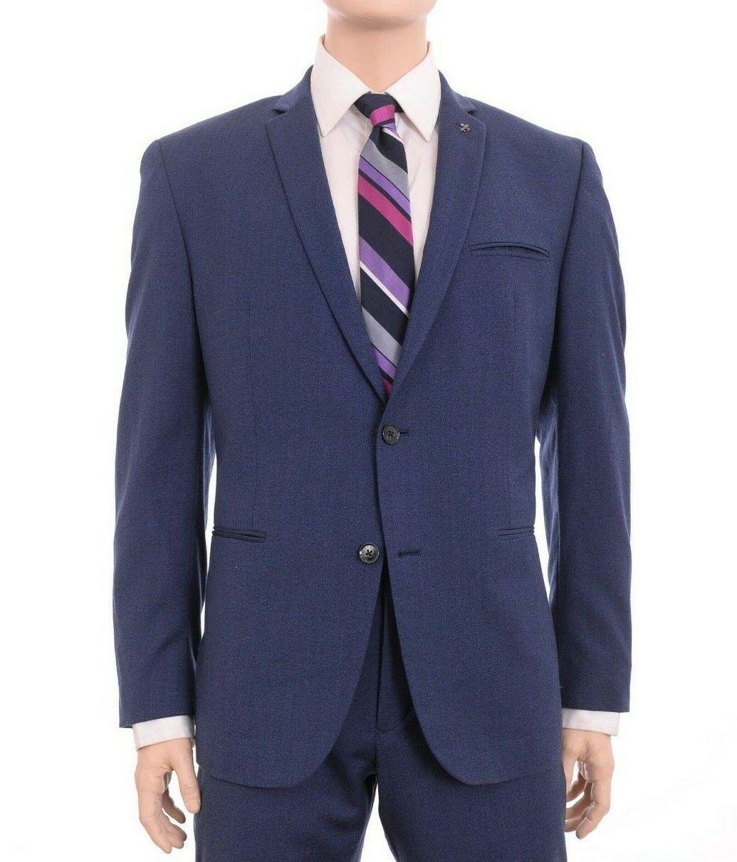 Bar III Slim Fit Cobalt bluee Textured Two Button Wool Blend Sportcoat Blazer 38S