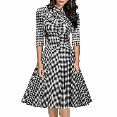 Women Vintage Style Bow 50s 60s Rockabilly Retro Evening Skater Swing Tea Dress