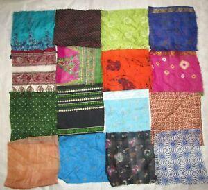 LOT-PURE-SILK-Vintage-Sari-Fabrics-REMNANT-16-pcs-8-034-SQUARES-Mixed-Color-PROJECT