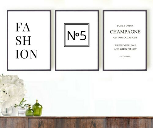 Set of 3 prints Champagne and fashion quotes wall art pictures gift
