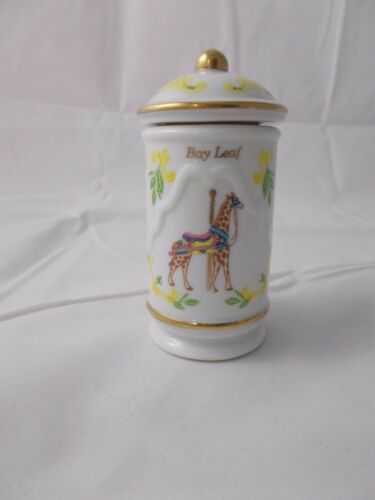 YELLOW Lenox Fine Porcelain Spice Carousel Jar BAY LEAF 1993 FREE SHIPPING
