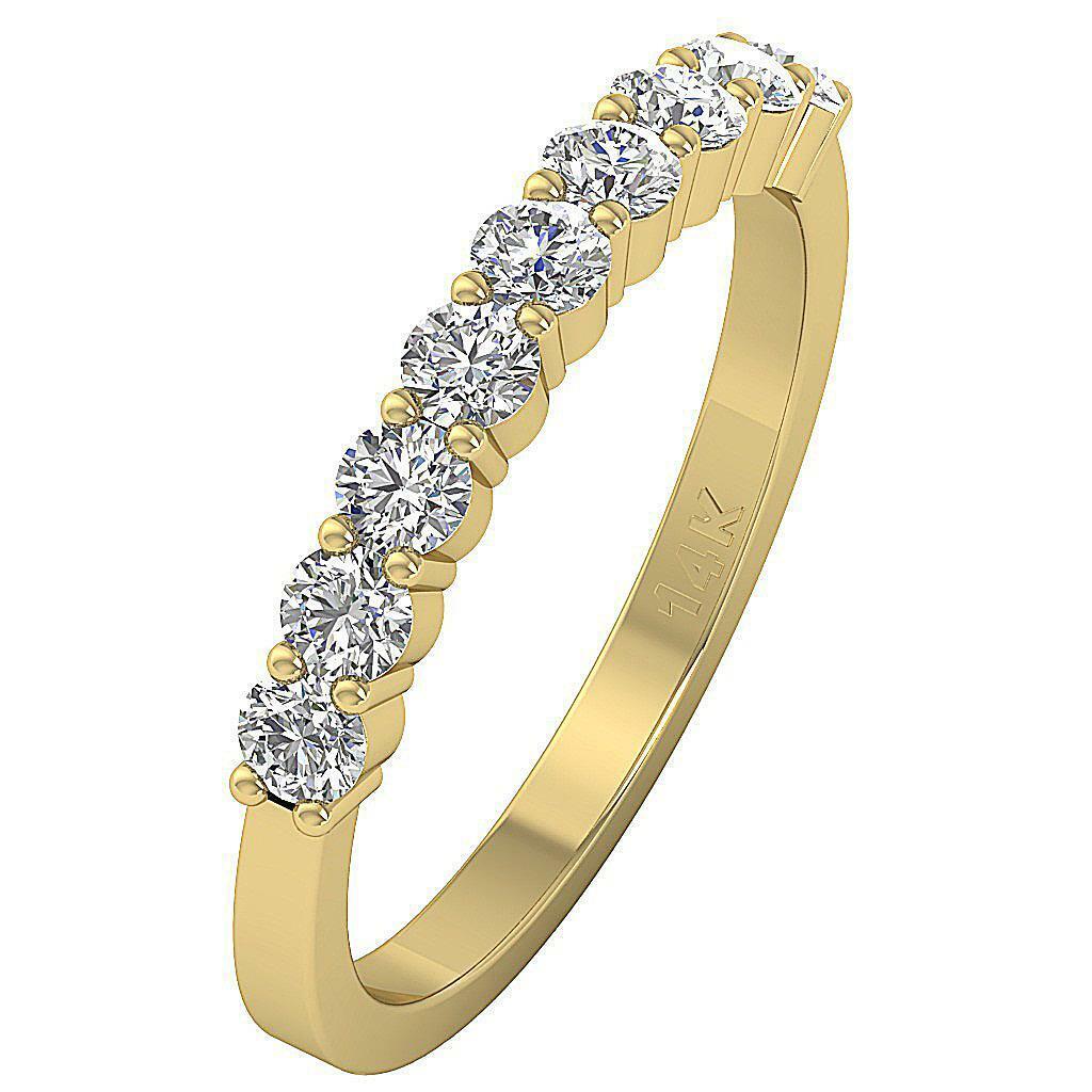 9 Stone Wedding Ring 1.01 Ct Real Diamond I1 G White Yellow pink gold Prong Set