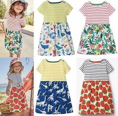 GIRLS NEW EX MINI BODEN SUMMER JERSEY SUN FRILL DRESS 2 3 4 5 6 7 8 9 10 11 12
