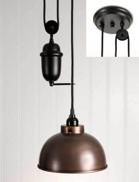 Aged Copper And Brown Dome Pull Down Hanging Pendant Light