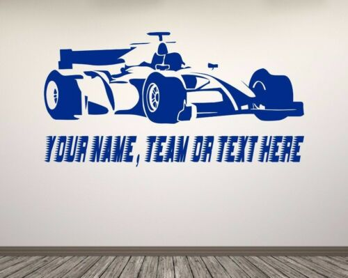 F1 Racing Car, Personalized Text Name Team. Wall vinyl sticker decal. Any colour