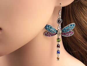 Fashion-Gorgeous-Colors-Dragonfly-Crystal-Rhinestone-Silver-Plated-Hook-Earrings