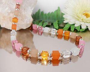 MODISCHE Würfelkette / Collier in Farben Rosa Orange Weiss Beige Braun Gold