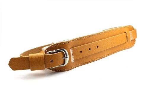 Tan X//Long Genuine Leather Vintage Buckle Sheepskin Shoulder Pad Guitar Strap