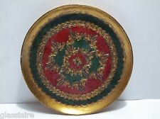 """Vintage Florentine Wall Plaque Picture Gold Gilt 6"""" RED Green GOLD"""