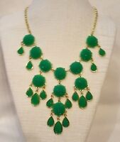 Crystalized Green Lucite Fringe Chain Bib Statement Charm Pendant Necklace Gold