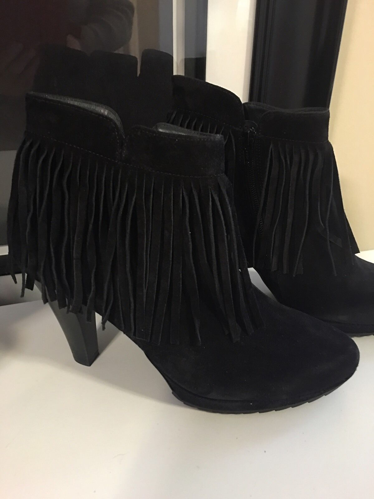 NEW PAUL GREEN GREEN GREEN Whoppee Fringe Suede Black Bootie Ankle heel Boot Size 6, US 8.5 5e869a