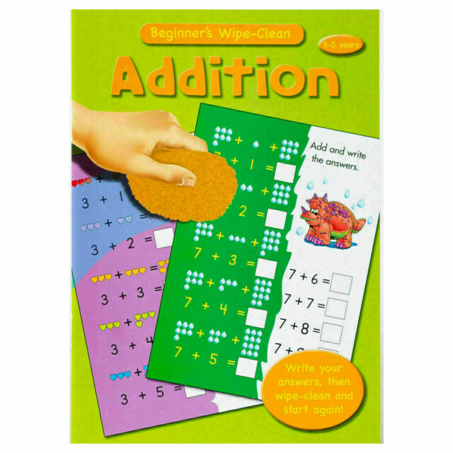 Wipe Clean Maths Addition - Children Educational Book for Kids aged 3-5