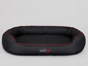 Lit de chien ovale Coussin de repos Hobbydog noir avec monture rouge