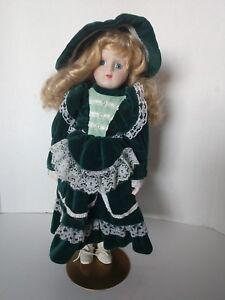 Victorian-Porcelain-Doll-Green-Velvet-Dress-Blue-Eyes