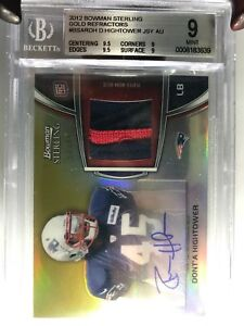 2012-Bowman-Stirling-Bgs-9-10-HIGHTOWER-Rookie-Auto-Patch-Refractor