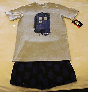 Doctor-Who-Mens-Tardis-Grey-Blue-Printed-Cotton-Pyjama-Set-Size-XXL-New-Marked
