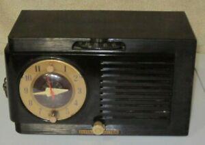 Antique-General-Electric-Bakelite-AM-Tube-Clock-Radio-Model-512F-Collectible