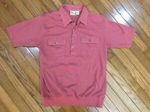 Vintage-Haband-Men-039-s-Salmon-Casual-Retro-1-4-Button-Front-Shirt-2-Pockets-Size-L