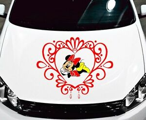 MINNIE MOUSE W TRIBAL HEART DECALVINYLGRAPHICHOODSIDE OF CAR - Vinyl decals cartribal hearts decal vinylgraphichood car hoods decals and