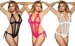 Ladies-Seductive-Peep-Hole-Teddy-Black-Pink-White-Bow-lace-Satin-Halter-Neck-10