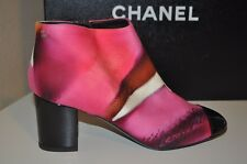 NIB $1175 CHANEL Water Color Print Fabric & Patent Cap Toe Ankle Short Boot 36.5
