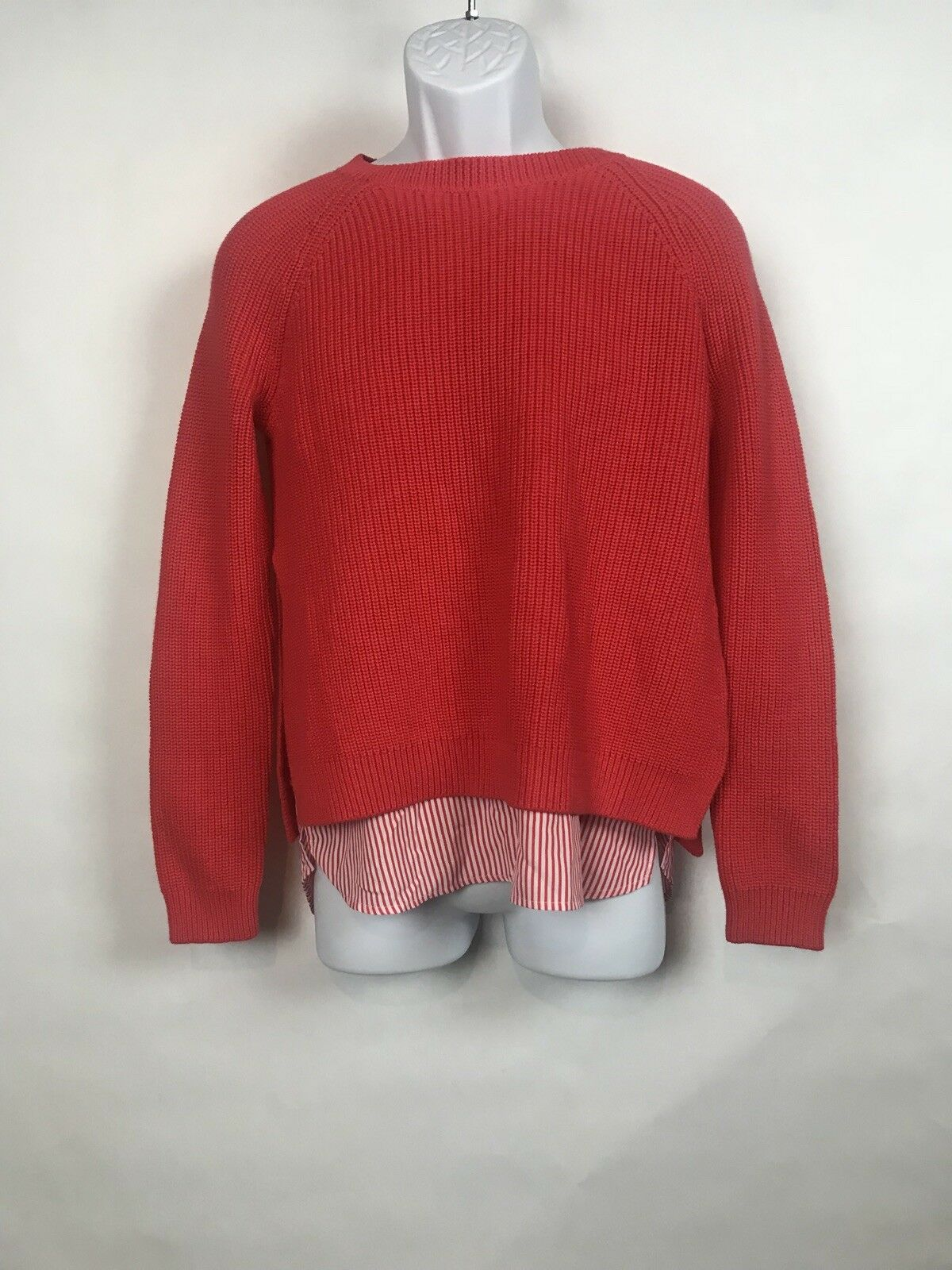 Ralph Lauren womens Sweater Medium Coral Layered Cotton New with tags NWT