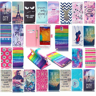 Vogue Patterned Money &Card Wallet PU Leather Flip Case Cover For Samsung Galaxy