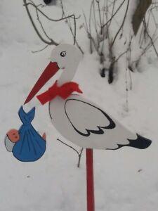 Storch zur Geburt^^^❤HOLZSTORCH^ Handarbeit// Baby Holz HOLZSTORCH ^ //Holz//