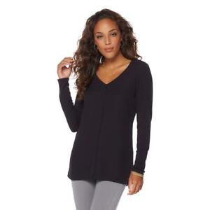 Lysse-Women-039-s-Stylish-Long-Sleeves-V-Neckline-Top-Solid-Black-X-Small-Size-HSN