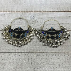 2-8-034-x2-5-034-Turkmen-Earrings-Tribal-Statement-Boho-Bib-Hoop-Fashion-Bells-KE220
