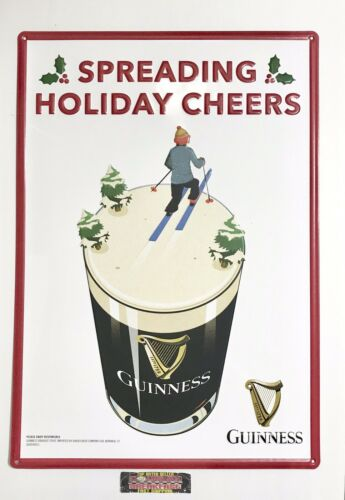 """Guinness Irish Stout Holiday Cheer Christmas Metal Beer Sign  20x14"""" New"""