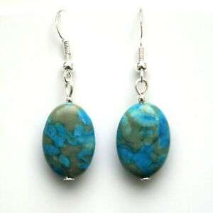 2f2cf1c36bfe0 Details about Gemstone Earrings Blue Crazy Lace Agate With Sterling Silver  Hooks New LB231