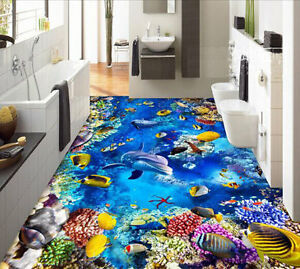 3D Blue Reef Sealife fishes Floor Mural Photo Flooring Wallpaper Home Wall Decal
