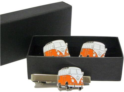 Naranja VW Camper Camioneta Gemelos y clip de corbata Conjunto de Regalo en Caja Esmalte De Boda nuevo!