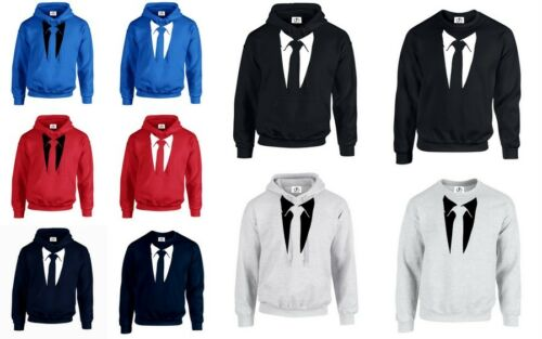 TIE Suit Tie TUXEDO HOODIE JUMPER Funny STAG DO PRESENT Stag Fancy Dress Party
