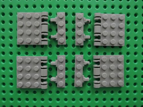 LEGO 8 x piastra di cerniera 44570 NUOVO GRIGIO CHIARO 4x4 STAFFA 44568 1x4 = 4 paia