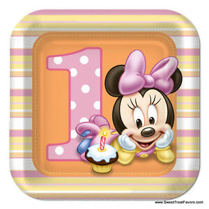 Image Is Loading Minnie Mouse Baby PLATES CAKE 1st First Birthday