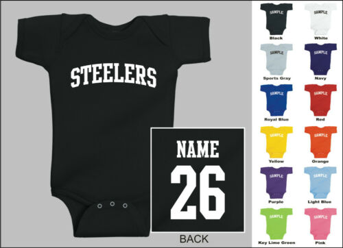 Steelers Baby One Piece Creeper Romper Personalized Custom Name /& Number