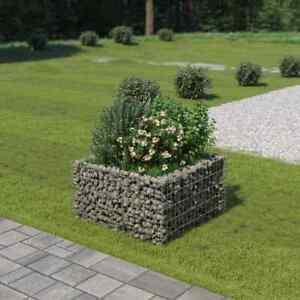 vidaXL Gabion Raised Bed Galvanised Steel 90x90x50cm Patio Flower Plant Bed