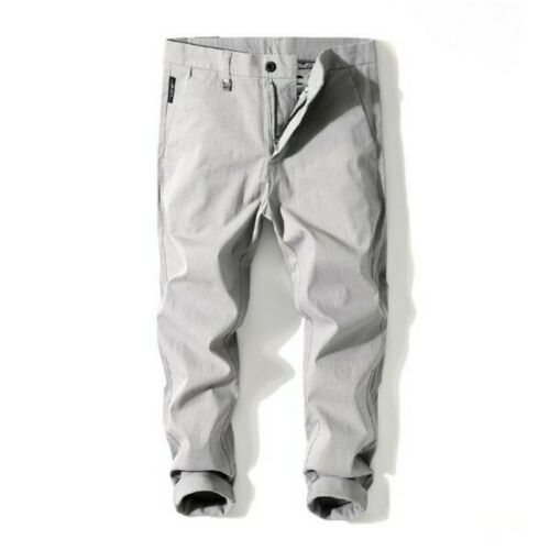 Chic Men Trousers 100/% Cotton Slim Korean Solid Youth Summer Ninth Skinny Pants