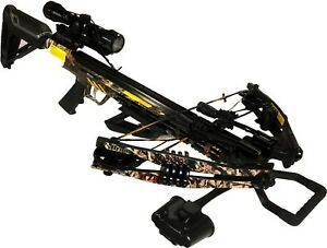 Bruin Ambush 370 Crossbow Package w/ Scope, Bolts, Quiver and Cocking Rope Camo