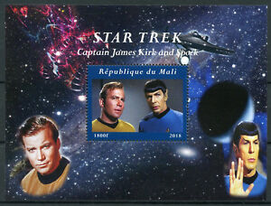 Mali-2018-MNH-Star-Trek-Captain-James-Kirk-amp-Spock-Leonard-Nimoy-1v-M-S-Stamps