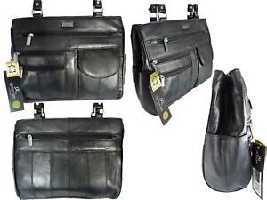 Ladies Leather Handbag Bag Shoulder Handbags Bags 8 POCKETS Medium BLACK QL173