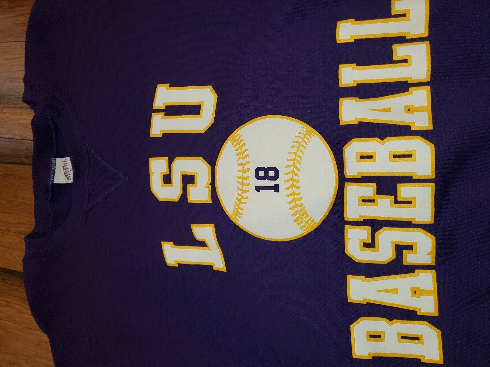 Vtg 1980s LSU Tigers baseball Jerzees Russell Swe… - image 3