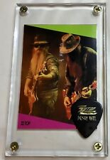ZZ Top Superstar card #150 / Dusty Hill gold on black tour guitar pick display