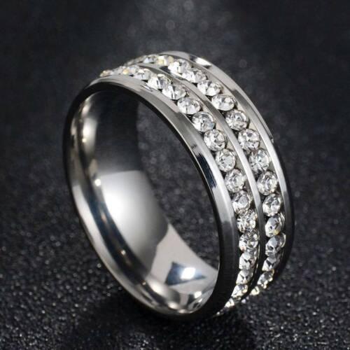 8 mm titane anneau en acier hommes femmes Cristal Bijoux Bracelet Or Argent Taille 6-13