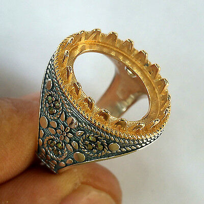 Turkish Handmade 925 Silver, Empty Ring Settings for 18x13 mm Stone, 10.5 us 025