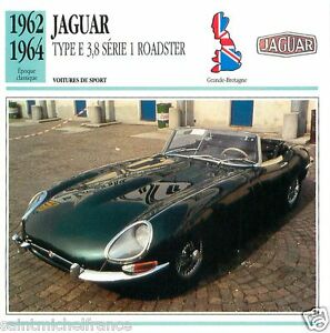 JAGUAR-TYP-E-3-8-SERIE-1-ROADSTER-1962-1964-CAR-VOITURE-Great-Britain-CARD-FICHE