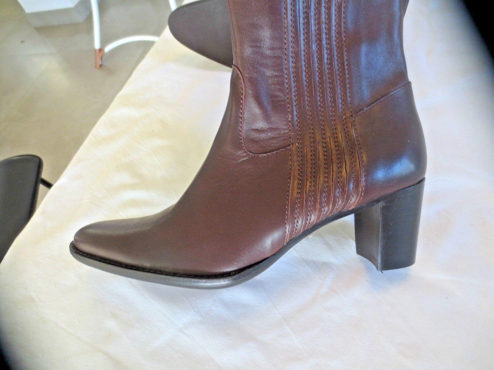 M M M par Stiefel Leder braun elastische+Verschluss Valeur179E Schuhgrößen 35,36,37 0c784d